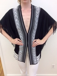 Roberto Cavalli Black Low Cut Blouse With Gray