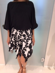 Tomaso Stefanelli Black Top With White Floral Skirt