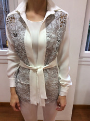 Tomaso Stefanelli White Sweater With Belt Tie