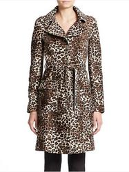 Armani Collezioni Leopard-Print Shearling Trench