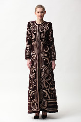 Naeem Khan Metallic Embroidered Floor-Length Shearling Coat