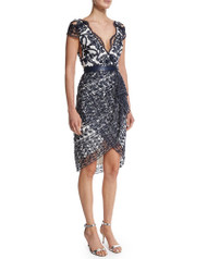 Marchesa Notte Short-Sleeve Belted Lace Cocktail Dress