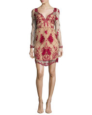Marchesa Notte Long-Sleeved Embroidered Cocktail Dress