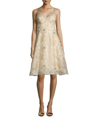 Marchesa Notte Sleeveless Floral Embroidered Dress