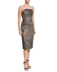 Christian Siriano Strapless Animal-Print Sheath Dress