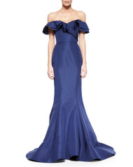Christian Siriano Layered Ruffle Off-The-Shoulder Gown