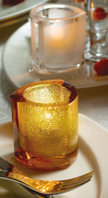 Thick Triangle Tealight Glass Lamp Amber Jewel