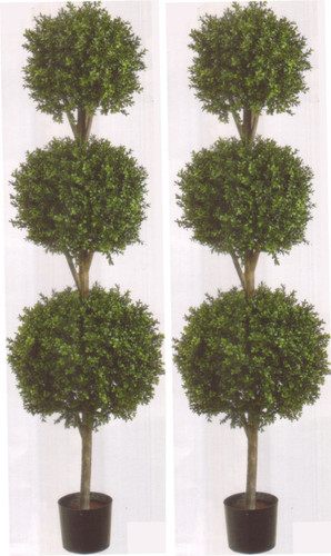 Artificial Boxwood Topiary Trees Triple Ball Topiary Trees