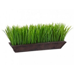 One 6 inch Tall 13 inch Long Artificial Grass in Metal Planter