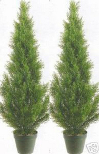 two 3 foot outdoor artificial cedar cypress topiary trees potted uv 3 Ft Artificial Plants