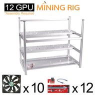 AAAwave Mining Case 12 GPU+FAN SCYTHE SY1225DB12H Stream 120DB 120mm Case Fan 1600 RPMTIC x 10 + PCI RISER X 12 …