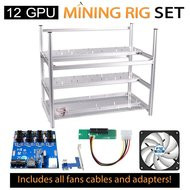 AAAwave Mining Case 12 GPU+ FAN ARCTIC F12 x 10 + Dual power supply rig - cables &adapters