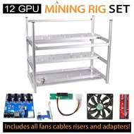 AAAwave Mining Case 12 GPU+FAN SCYTHE 1600 x 10 + PCI RISER x 12 + Dual power supply rig - cables &adapters …