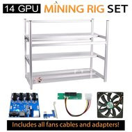 AAAwave Mining Case 14 GPU+FAN SCYTHE 1600 x 12+Dual power supply rig - cables &adapters …