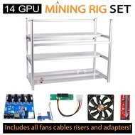 AAAwave Mining Case 14 GPU+FAN SCYTHE 1900x 12 + PCI riser x 14+Dual power supply rig - cables &adapters …