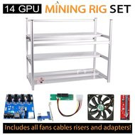 AAAwave Mining Case 14 GPU+FAN SCYTHE 1600 x 12 + PCI RISER X 14+Triple power supply rig - cables &adapters …