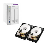 Special bundle - Qnap TS-231P-US Personal Cloud NAS + Pack of 2 - HGST 0S04007 Deskstar NAS 3.5-Inch 6TB Internal Hard Drive