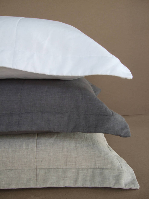 White, Graphite, Natural Oatmeal Quilted Linen Shams
