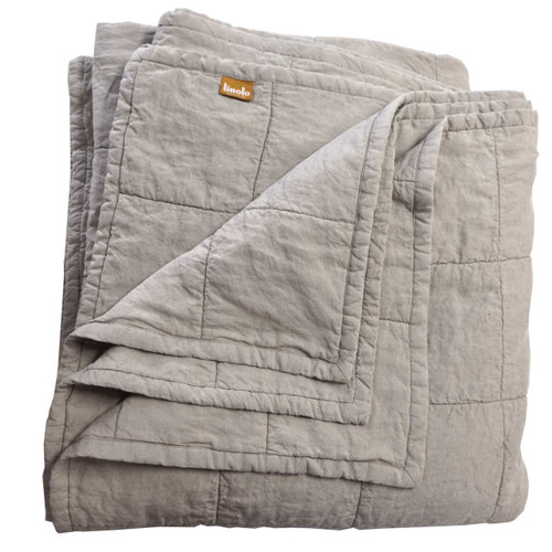 Organic Linen Quilted Coverlet Natural Belgian Flax