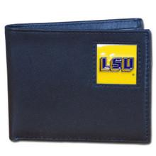 LSU Tigers Black Bifold Wallet NCCA College Sports CBI43