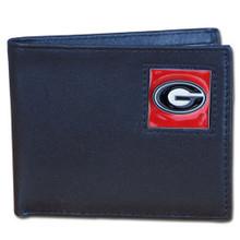 Georgia Bulldogs Black Bifold Wallet NCCA College Sports CBI5