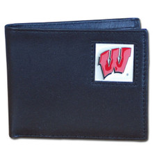 Wisconsin Badgers Black Bifold Wallet NCCA College Sports CBI51