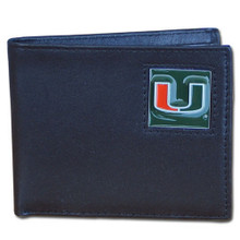 Miami Hurricanes Black Bifold Wallet NCCA College Sports CBI6