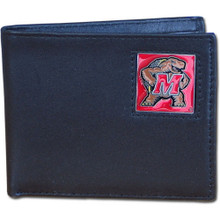 Maryland Terrapins Black Bifold Wallet NCCA College Sports CBI64