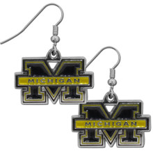Michigan Wolverines Chrome Dangle Earrings NCCA College Sports CDE36N