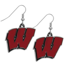 Wisconsin Badgers Chrome Dangle Earrings NCCA College Sports CDE51N