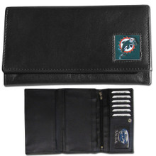 Miami Dolphins Black Women's Leather Wallet FFW060