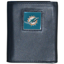 Miami Dolphins Black Trifold Wallet NFL Football FTR060