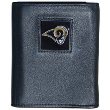 St. Louis Rams Black Trifold Wallet NFL Football FTR130
