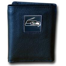 Seattle Seahawks Black Trifold Wallet NFL Football FTR155