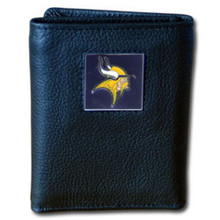 Minnesota Vikings Leather Trifold Wallet with Nylon Liner NFL Football FTRN165