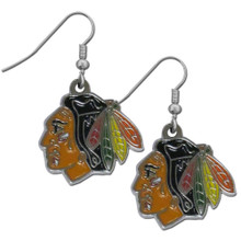 Chicago Blackhawks Chrome Dangle Earrings NHL Hockey HDE10N