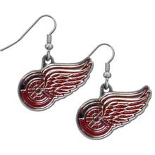 Detroit Red Wings Chrome Dangle Earrings NHL Hockey HDE110N