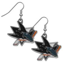 San Jose Sharks Chrome Dangle Earrings NHL Hockey HDE115N
