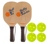 Rally Meister Pickle Ball Bundle (two wood paddles/four balls)
