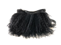 NEW! Pom Pom Mongolian Fur & Leather Waist Bag
