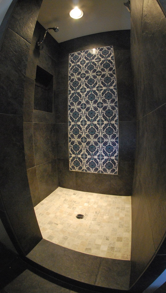 Floral Pattern Mural Design in shower Truckee, California