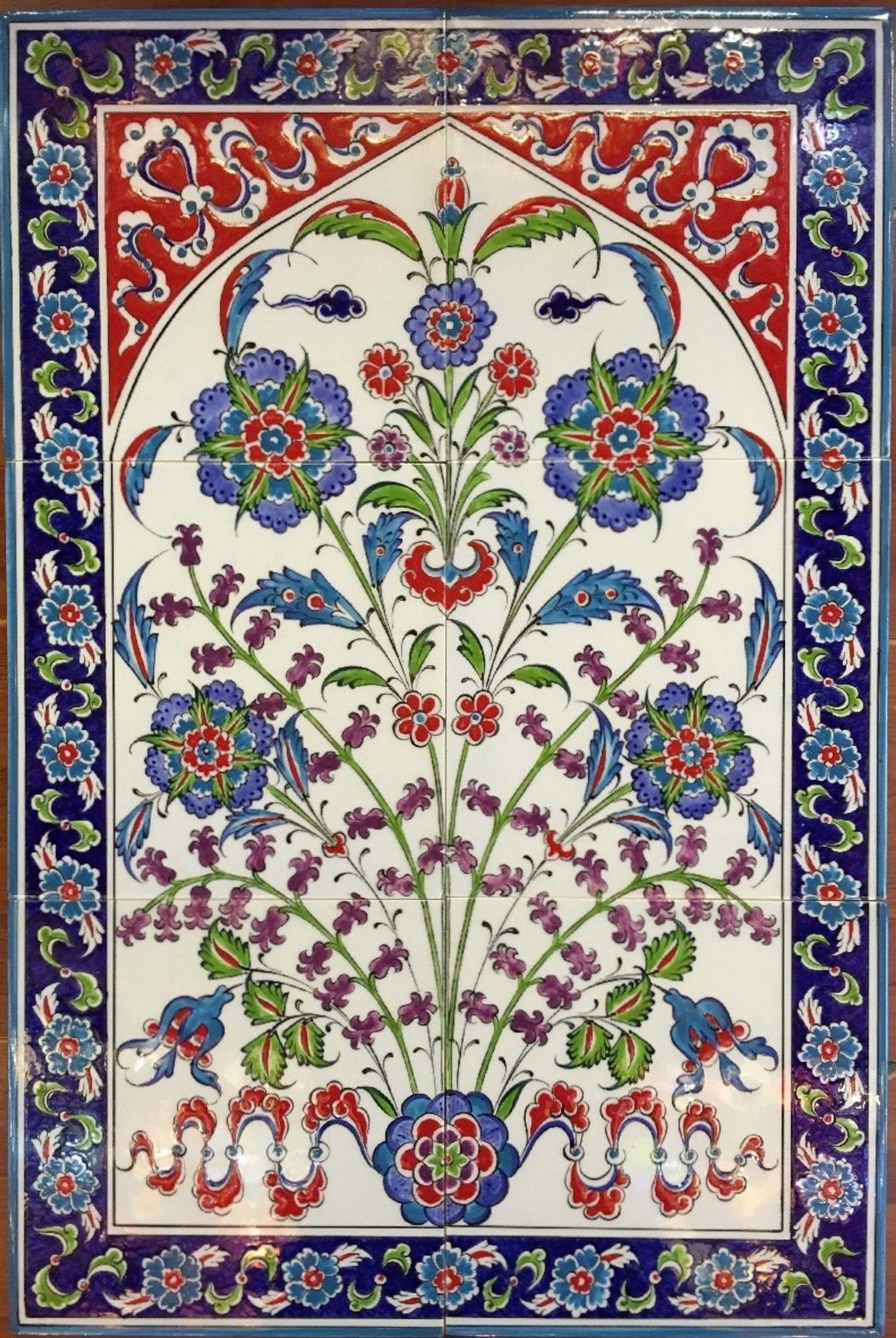 Iznik art wall tiles backsplash unique designs and more 40x60cm hiding hyacinth iznik art ceramic tile panel doublecrazyfo Images