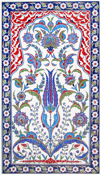 80x140cm - Traditional Iznik Tile Art Ceramic Wall Panel