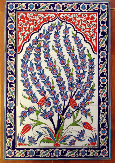 6pc hand painted glazed traditional Turkish Tiles Ceramic Wall art with Iznik Designs