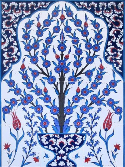 Blue Life Floral Art Ceramic Tile Wall Panel