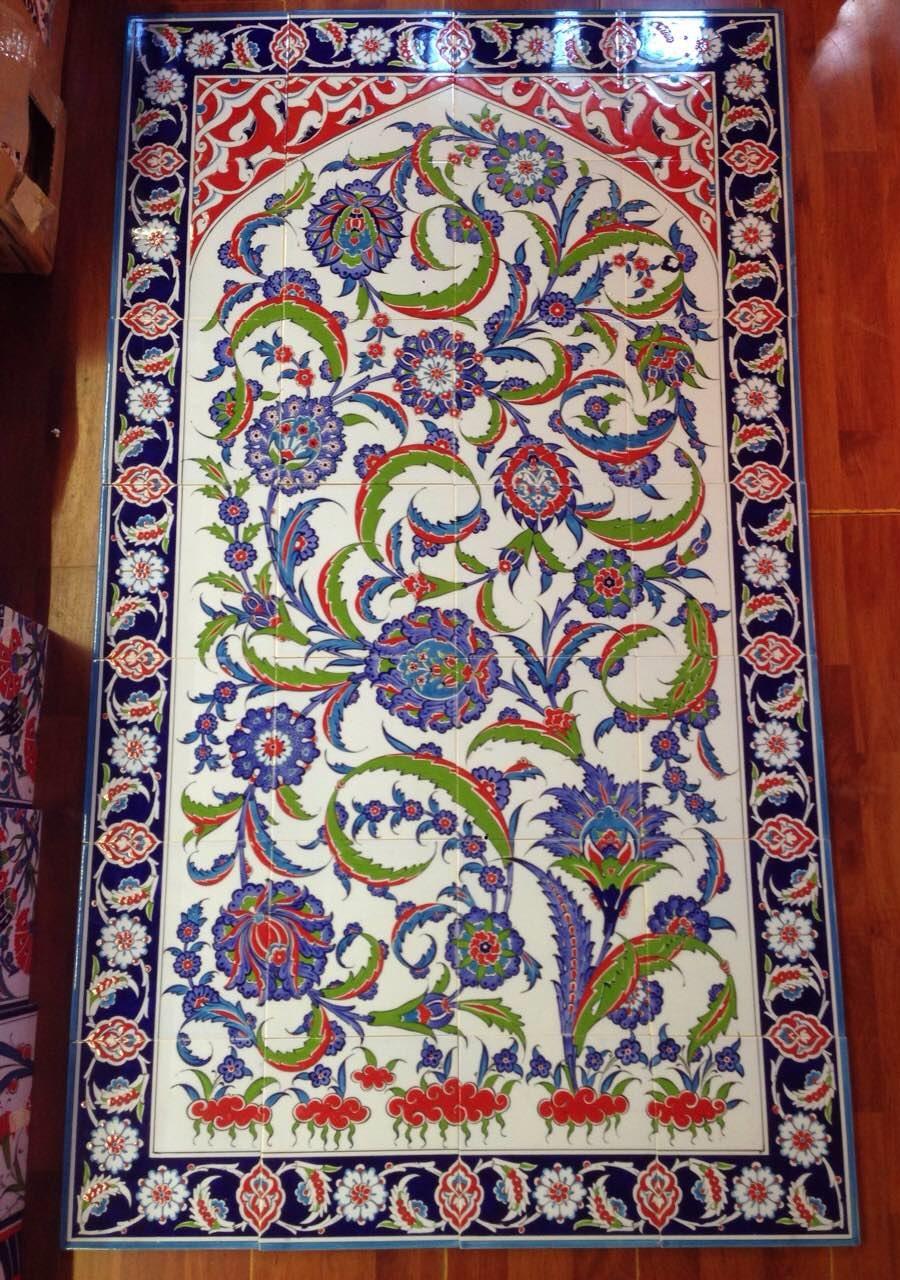 Iznik tile panel 80cm x 140cm ceramic iznik art wall tiles doublecrazyfo Choice Image