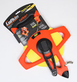 "Lufkin 1/2"" x 200' Engineer's Hi-Viz Orange Fiberglass Tape Measure - 10ths / 100ths"
