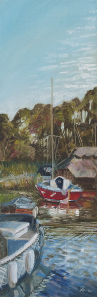 HIckling Broad, Hickling mere, Boathouse on the Norfolk Broads, close to where I was staying at Hemsby.  Part of the Brush with the Broads Plein Air painting event.