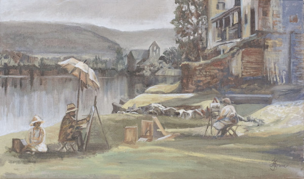 A painting of the Dordogne river, France with plein air painters Surrey painter, Woking Artist