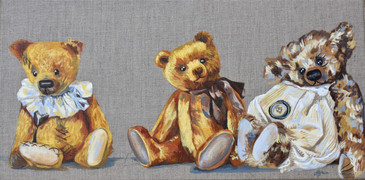 Teddy bears painting in oils
